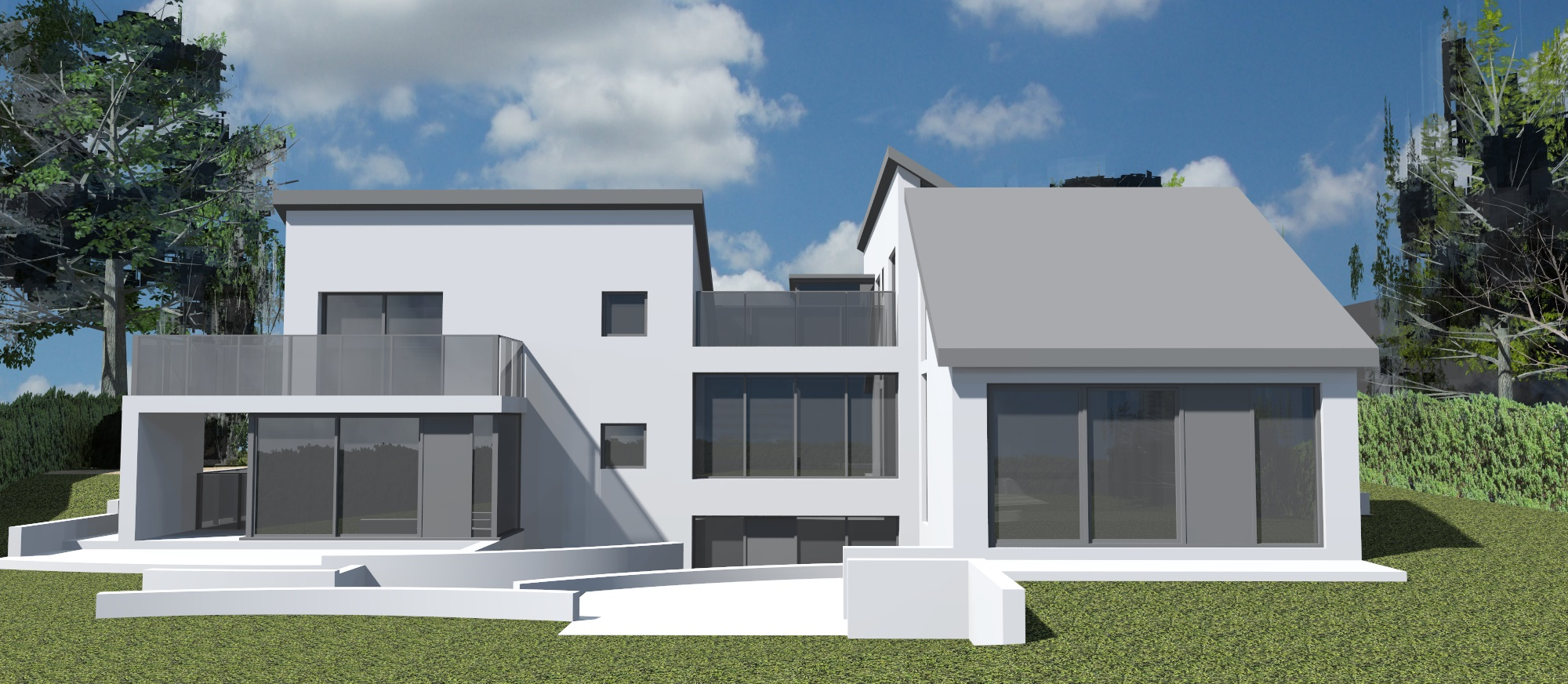 3d model, hillcrest, mono pitch roof, 3 storey house, architecture, design