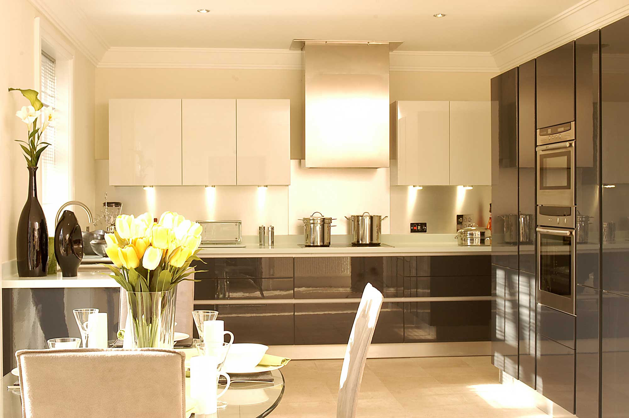 modern full height kitchen and dining room