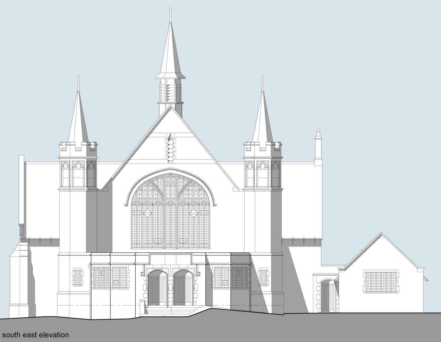 front elevation sketch drawing of firth park methodist church