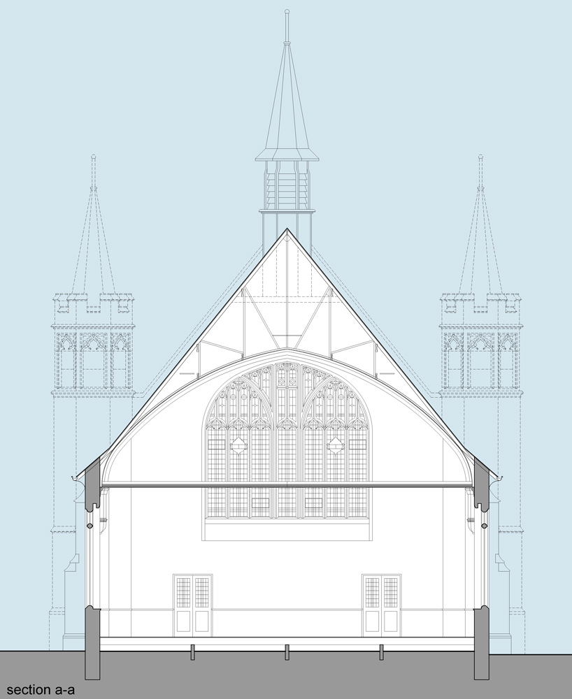 existing section sketch drawing through nave of firth park methodist church