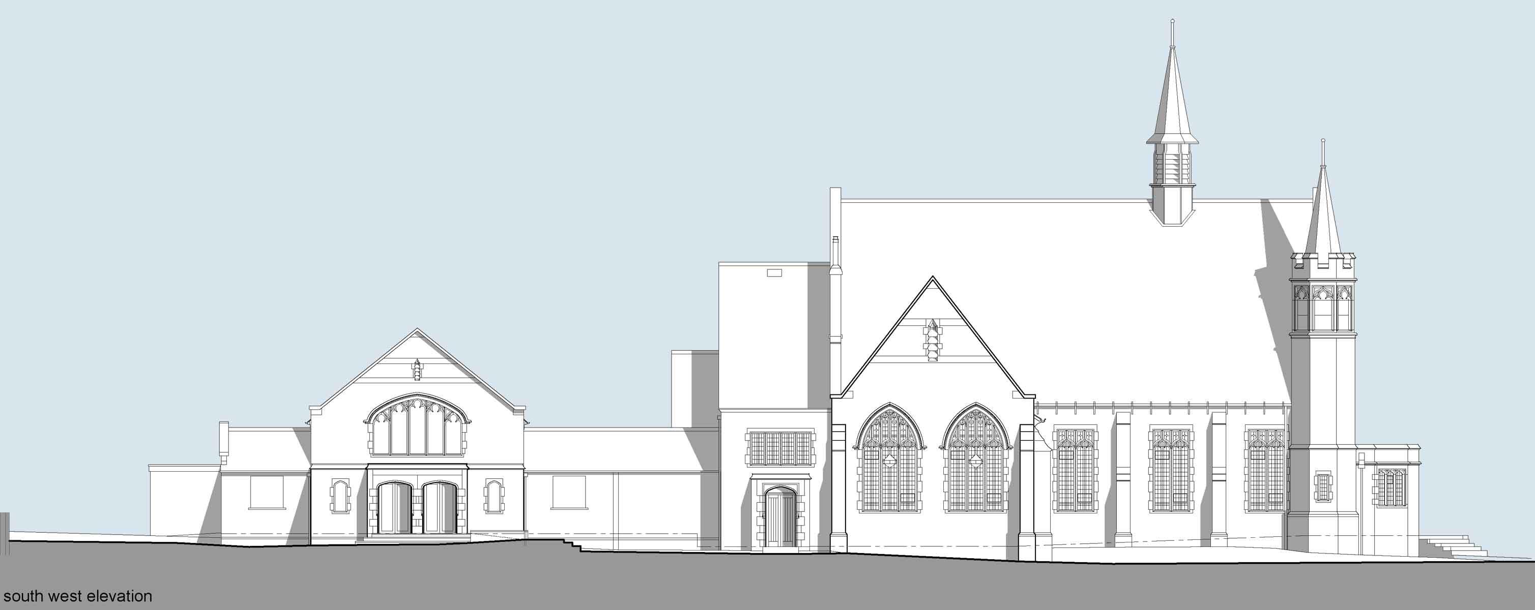 stubbin lane existing elevation sketch drawing of firth park methodist church