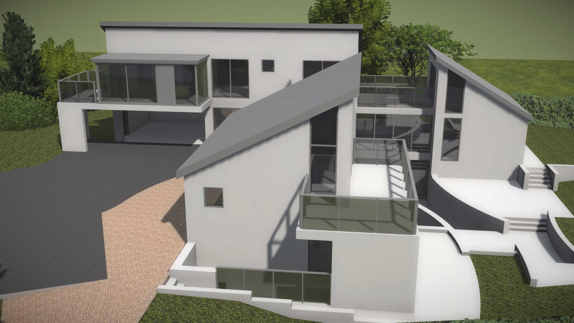 modern contemporary 3 storey house with balconies and terrace 3d concept model 2