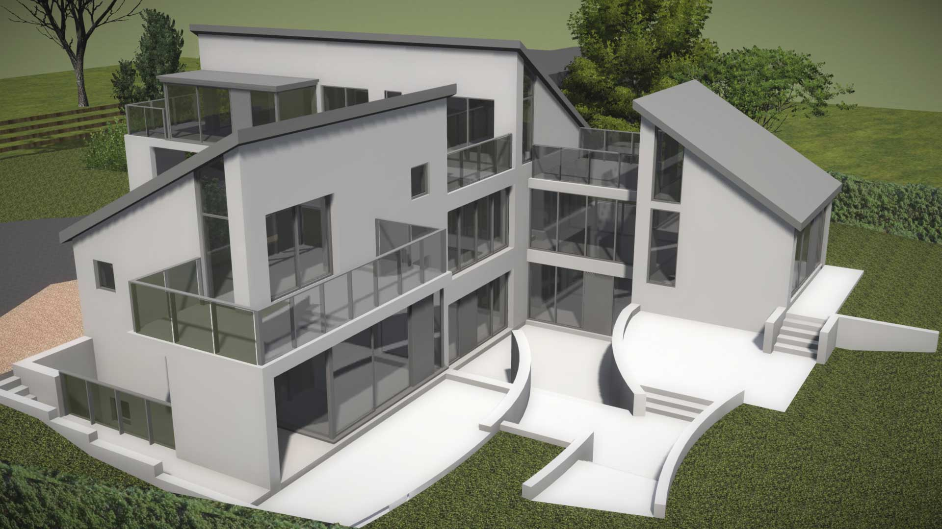 modern contemporary 3 storey house with balconies and terrace 3d concept model