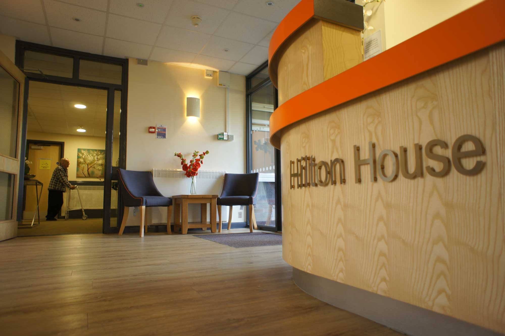 Hilton house care home entrance lobby and waiting area