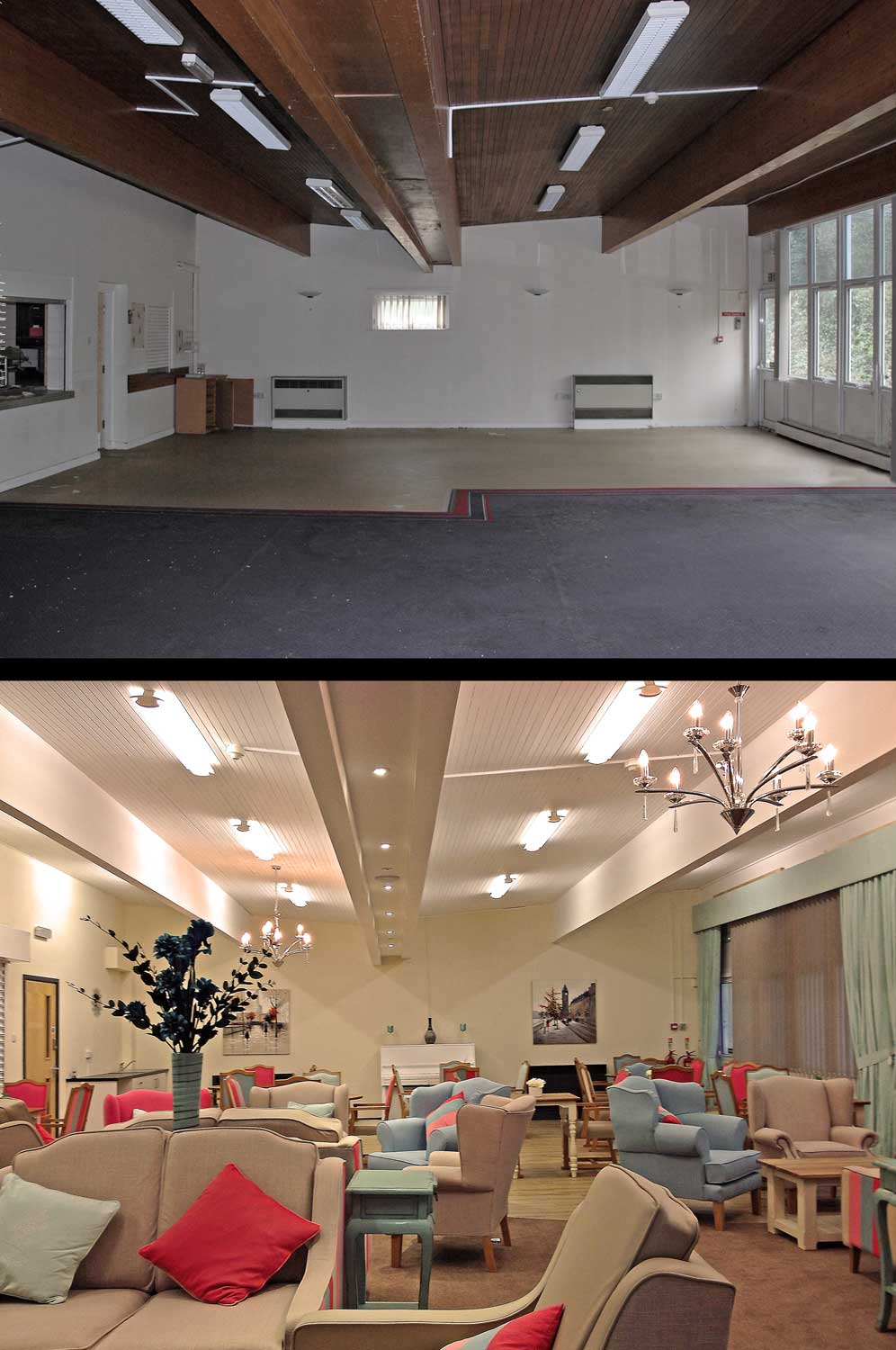 care home lounge before and after
