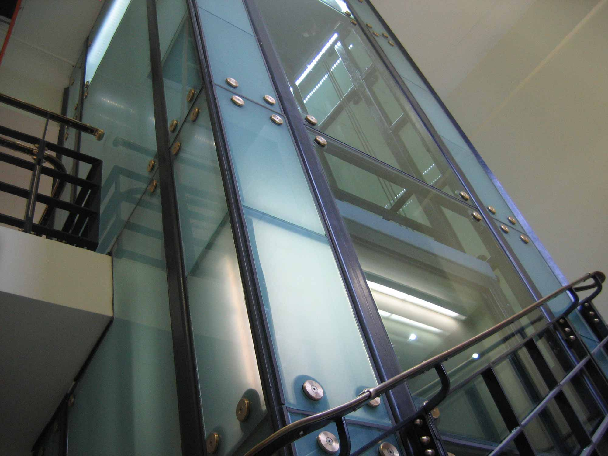 glass lift shaft and stairwell architecture