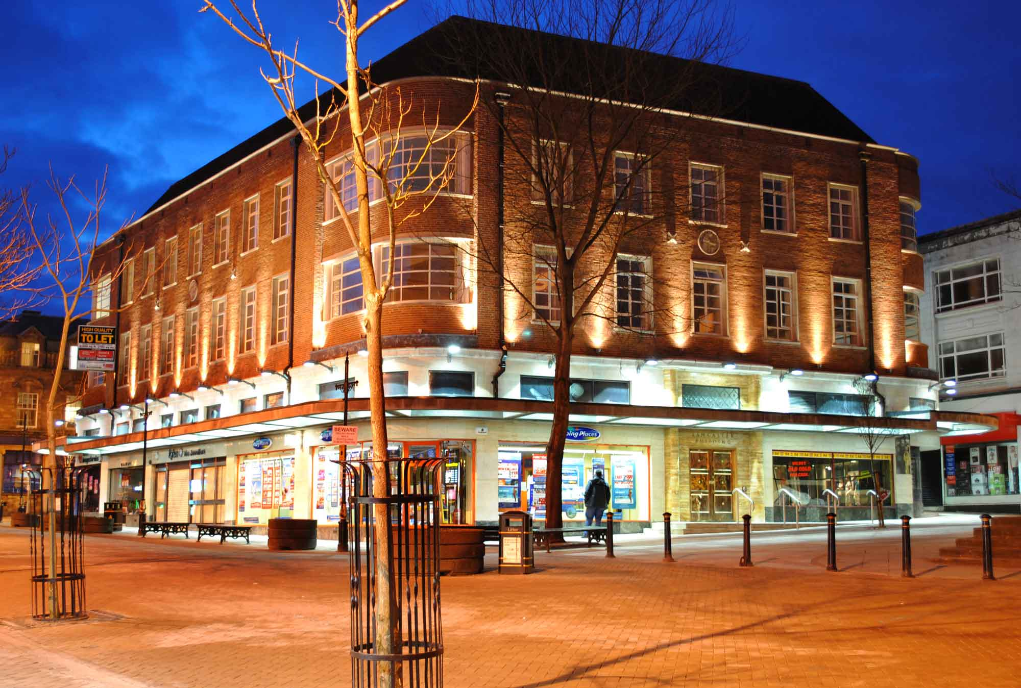 lancaster building in newcastle under lyme night