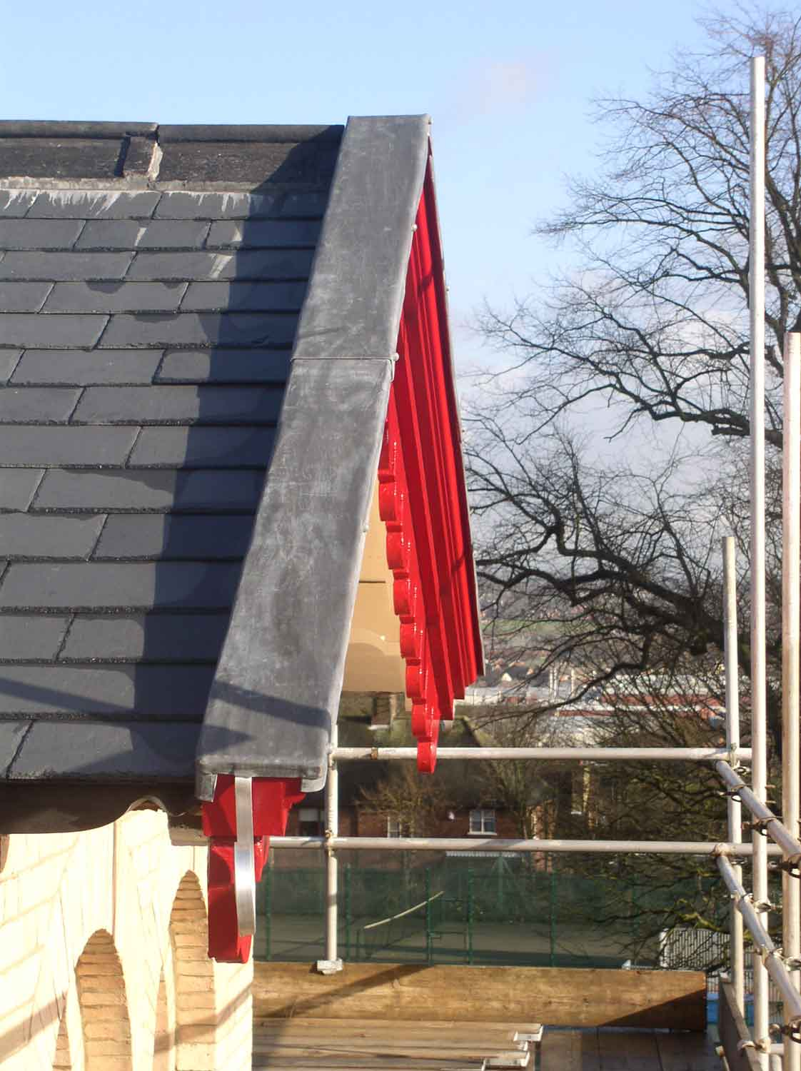 slate roof and decorative timber gable barge boards