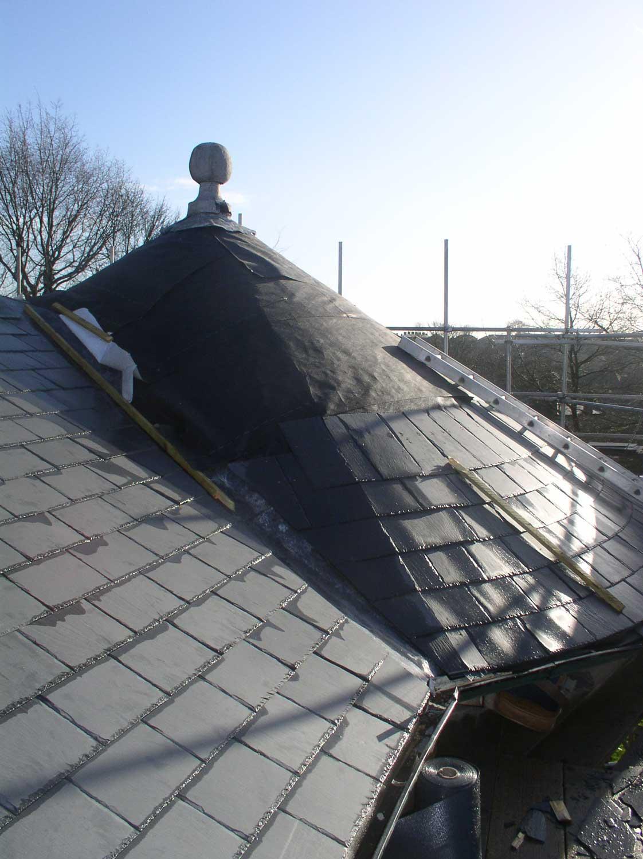 slate roof turret round