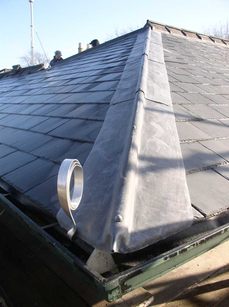 slate roof hip lead and tiled ridge
