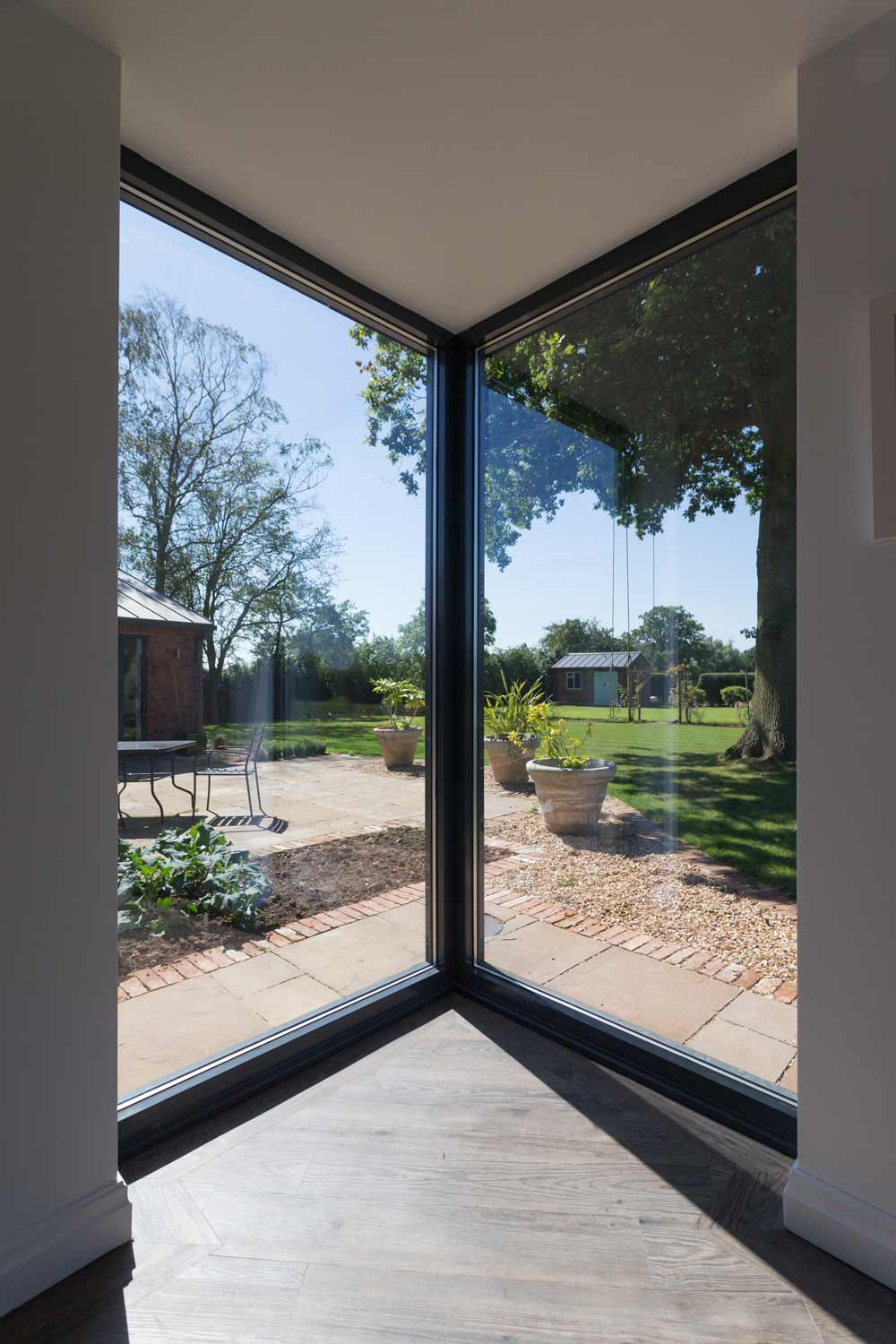 full height glazed farmhouse extension modern contemporary