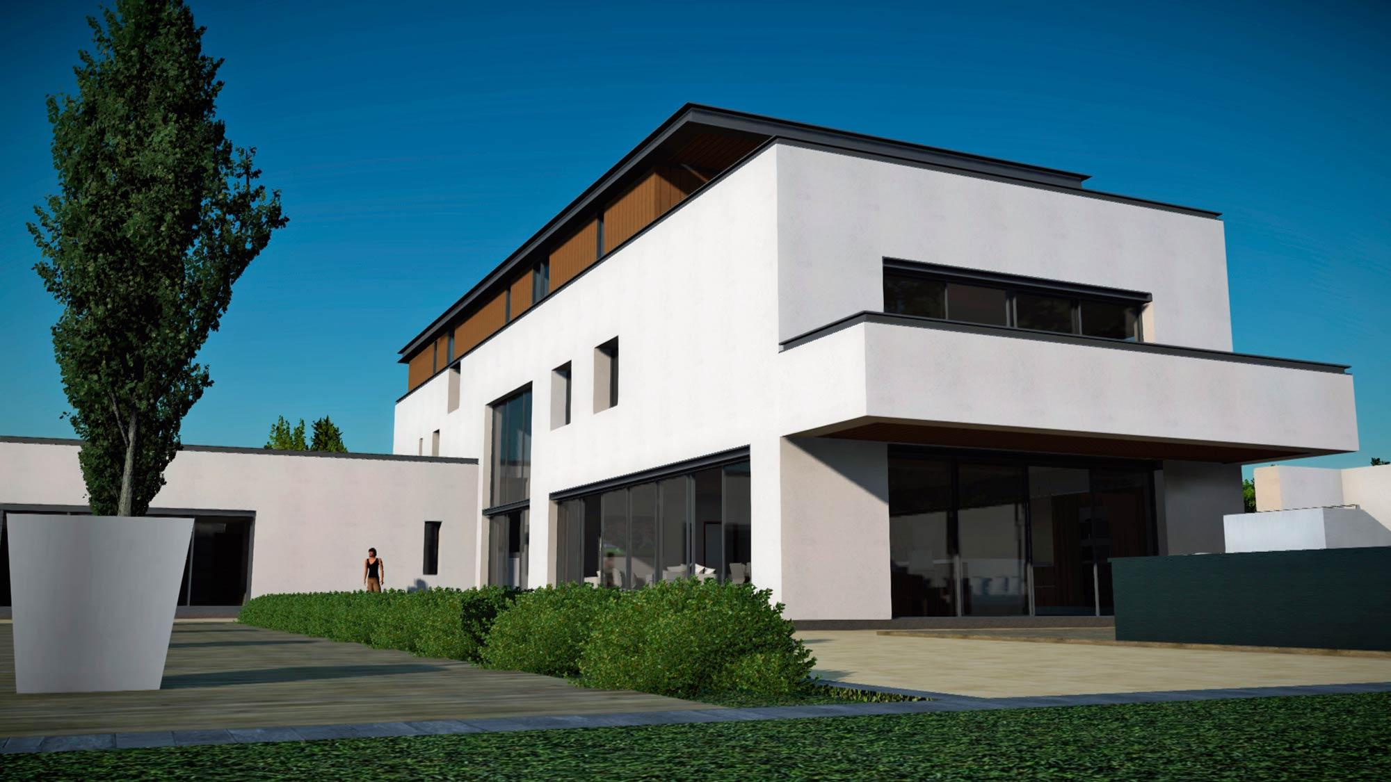 3 storey house white render