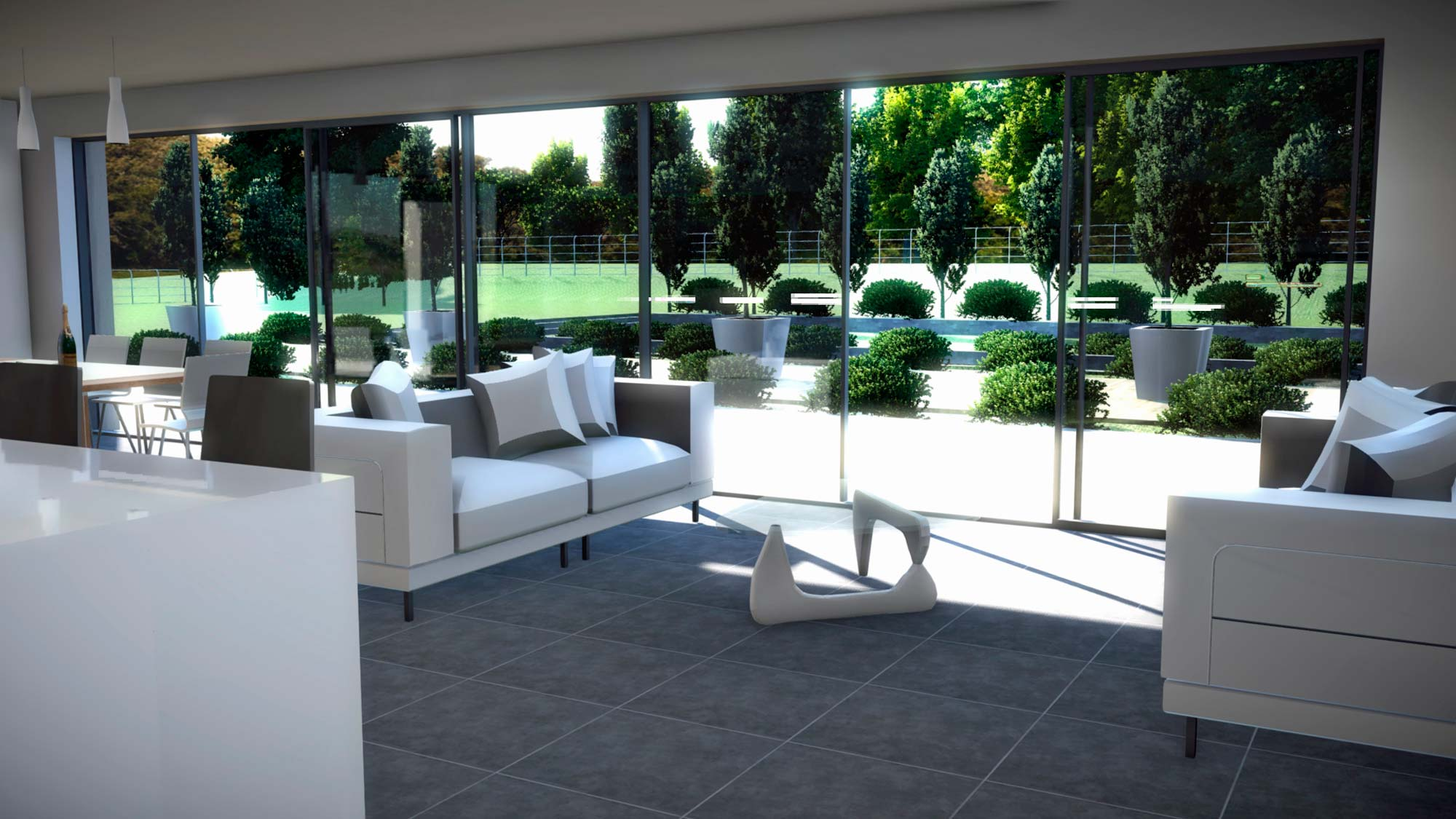 kitchen lounge and formal garden