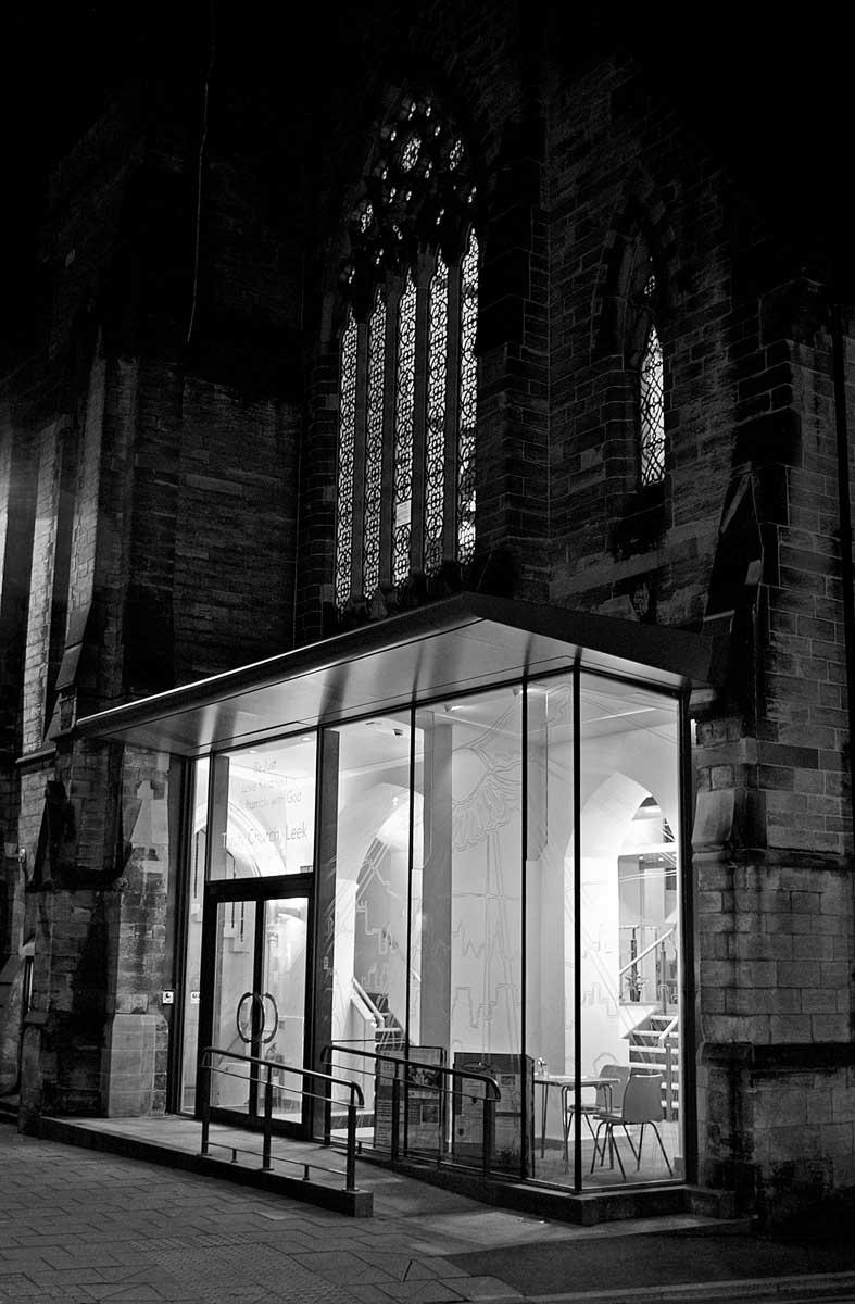 trinity church entrance canopy night time