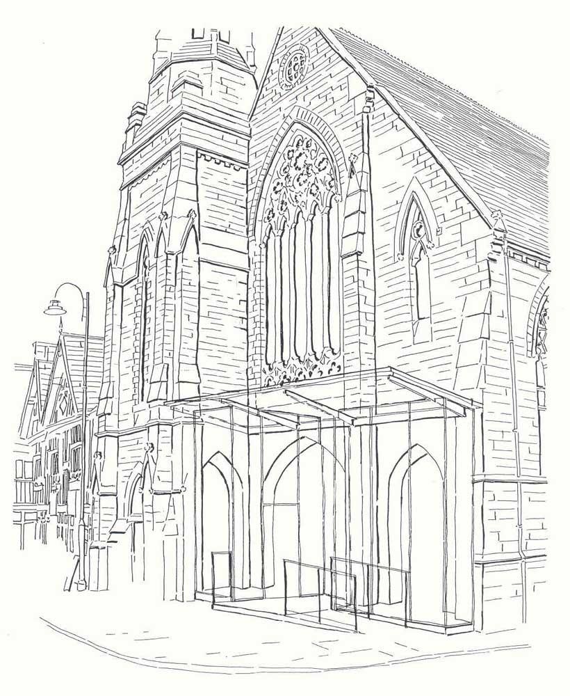 architects sketch of trinity church in leek staffordshire