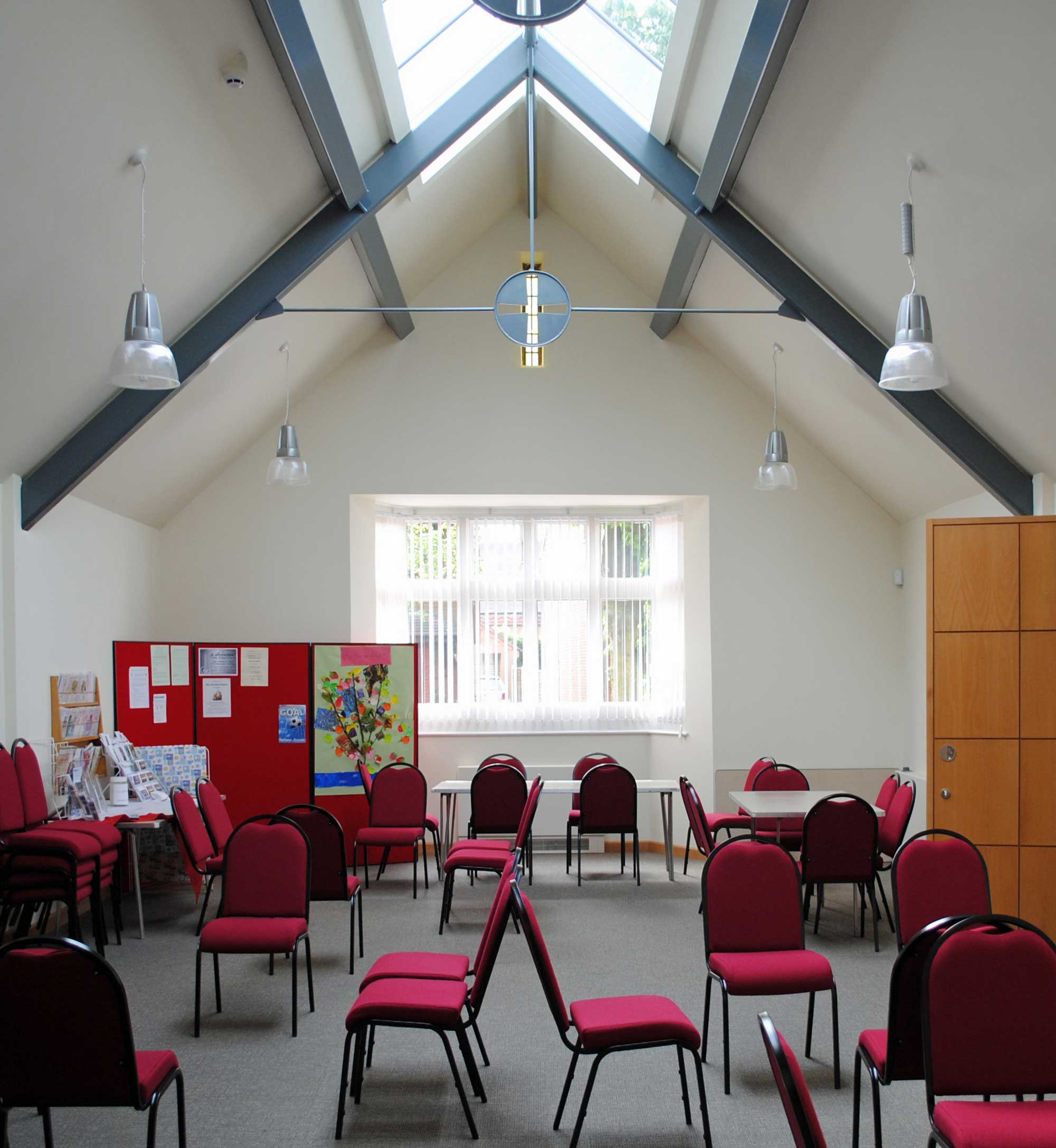 Methodist church meeting room vaulted ceiling steel work