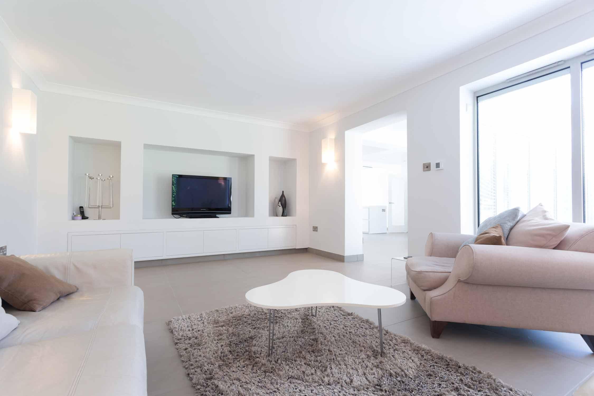 lounge living room media wall flat screen tv