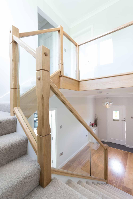hardwood timber balustrade with glass infill