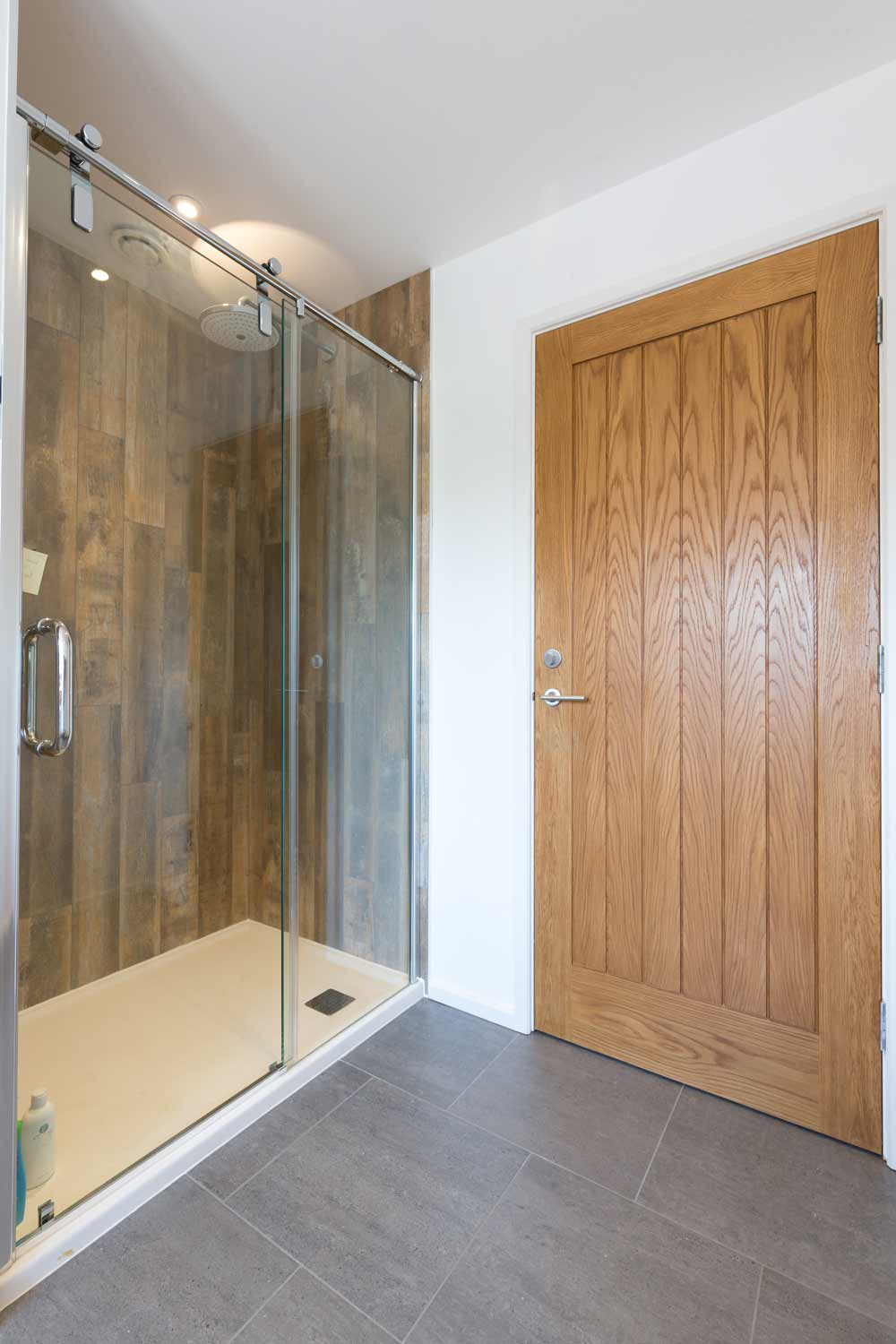 walk in shower glass tray wall tiling
