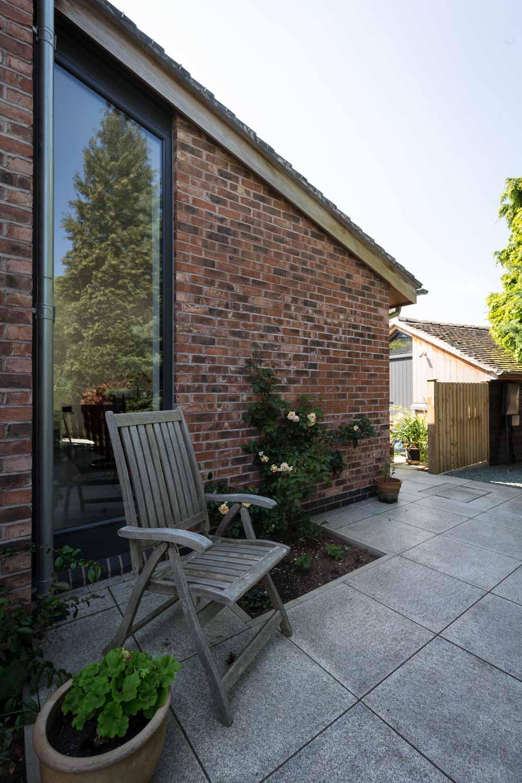 cottage lean-to glazing cedar brick