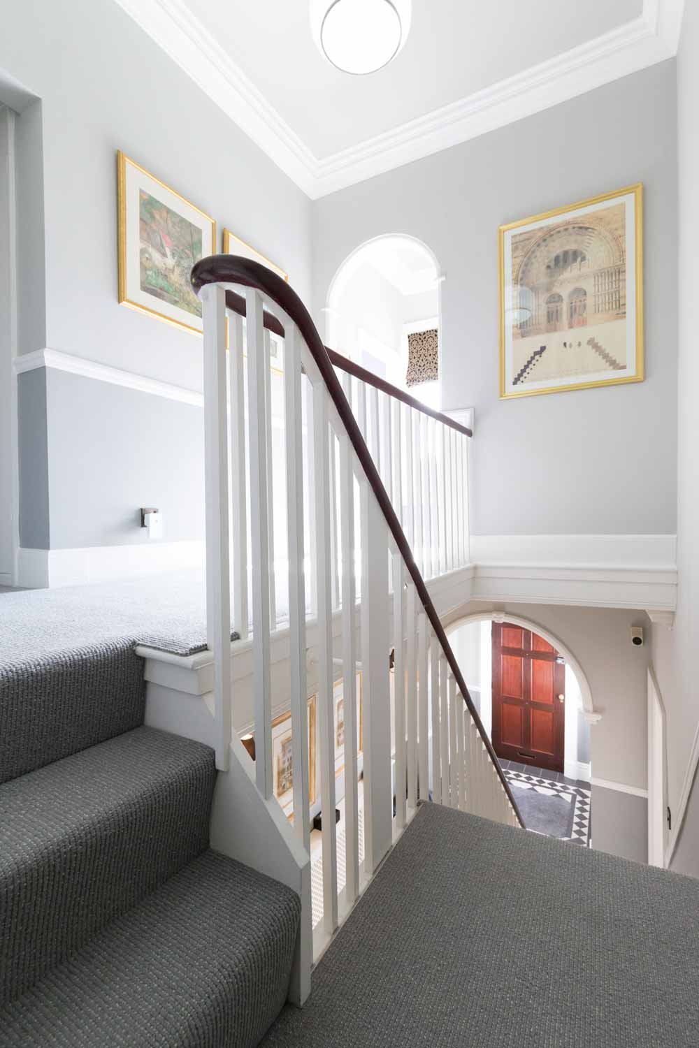 georgian balustrade handrail, staircase, carpet, dado rail, cornice, entrance hall
