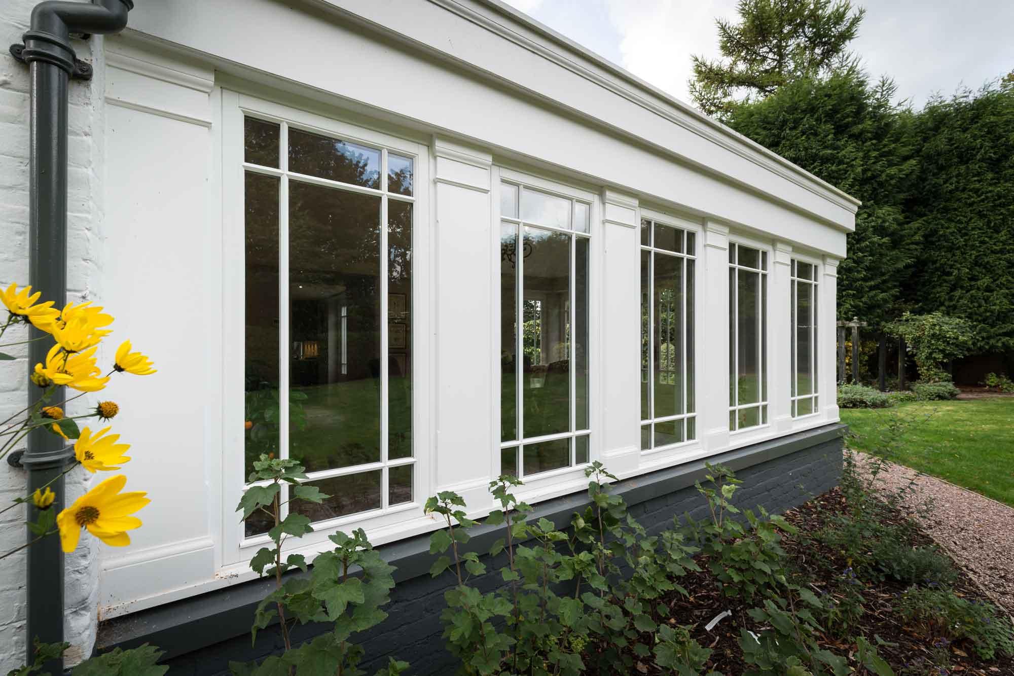 garden, stone paving, sash windows