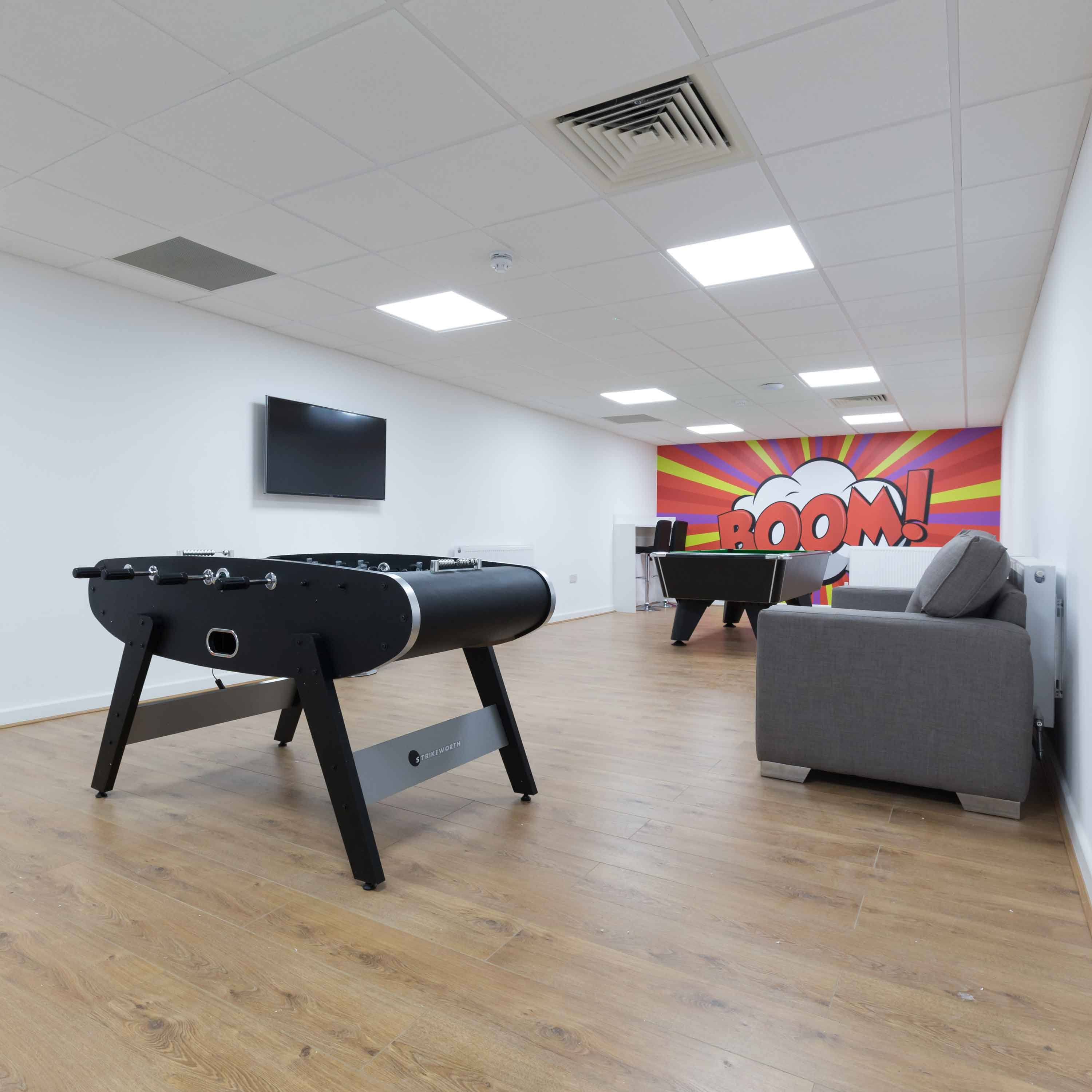 student accommodation newcastle under lyme student lounge basement pool table football common room
