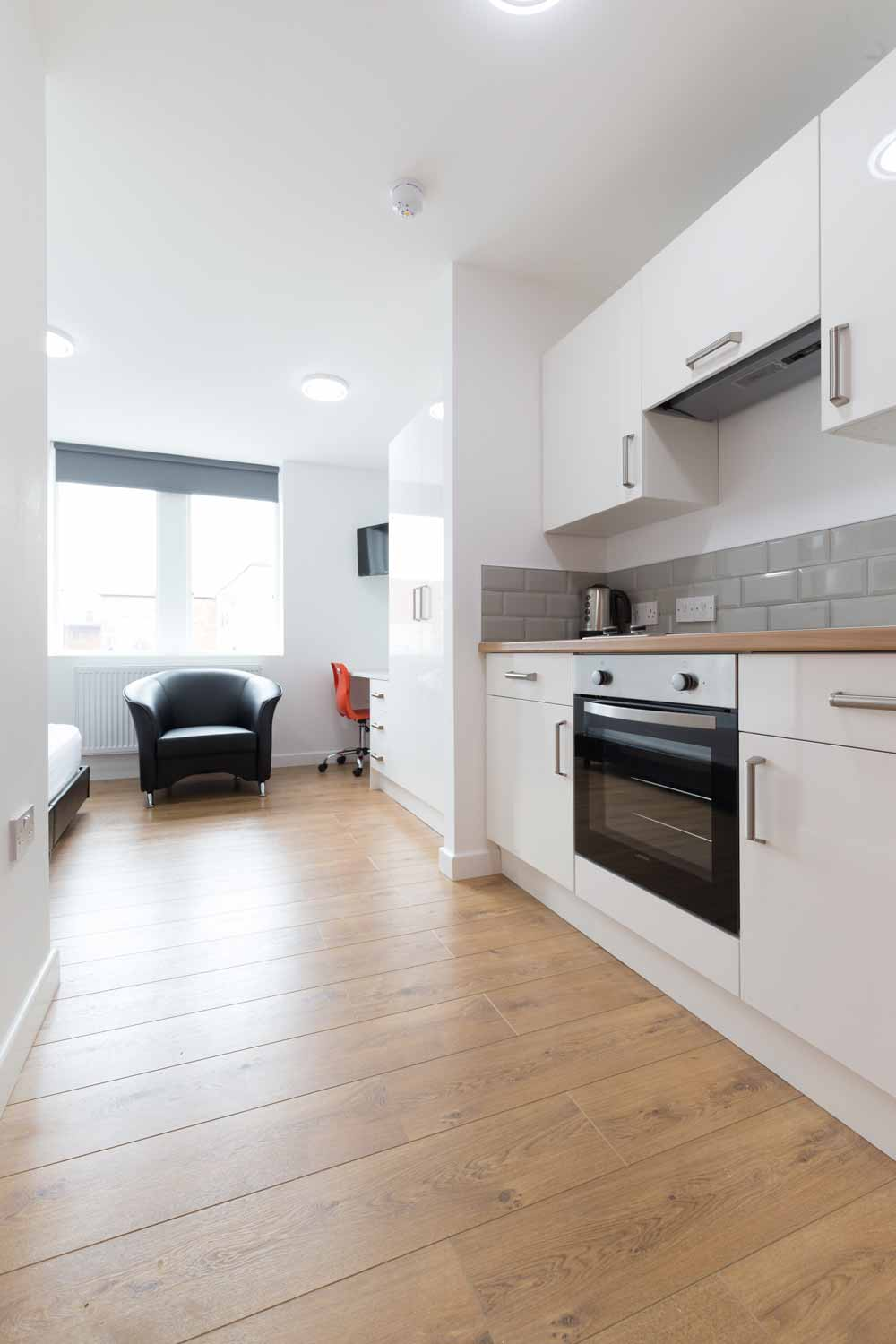 student accommodation newcastle under lyme studio unit kitchen area