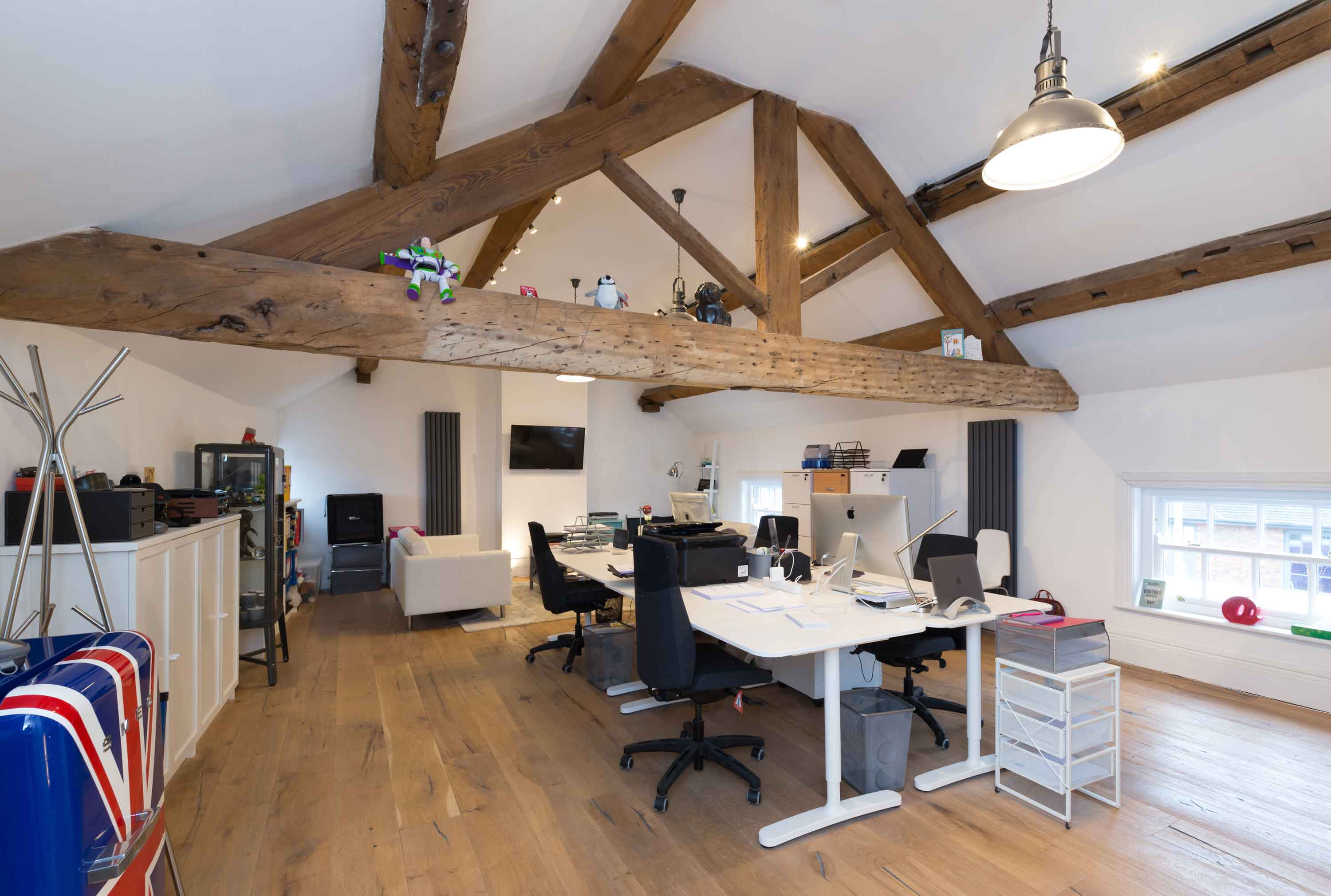conservation oak beams and truss office space tables computers
