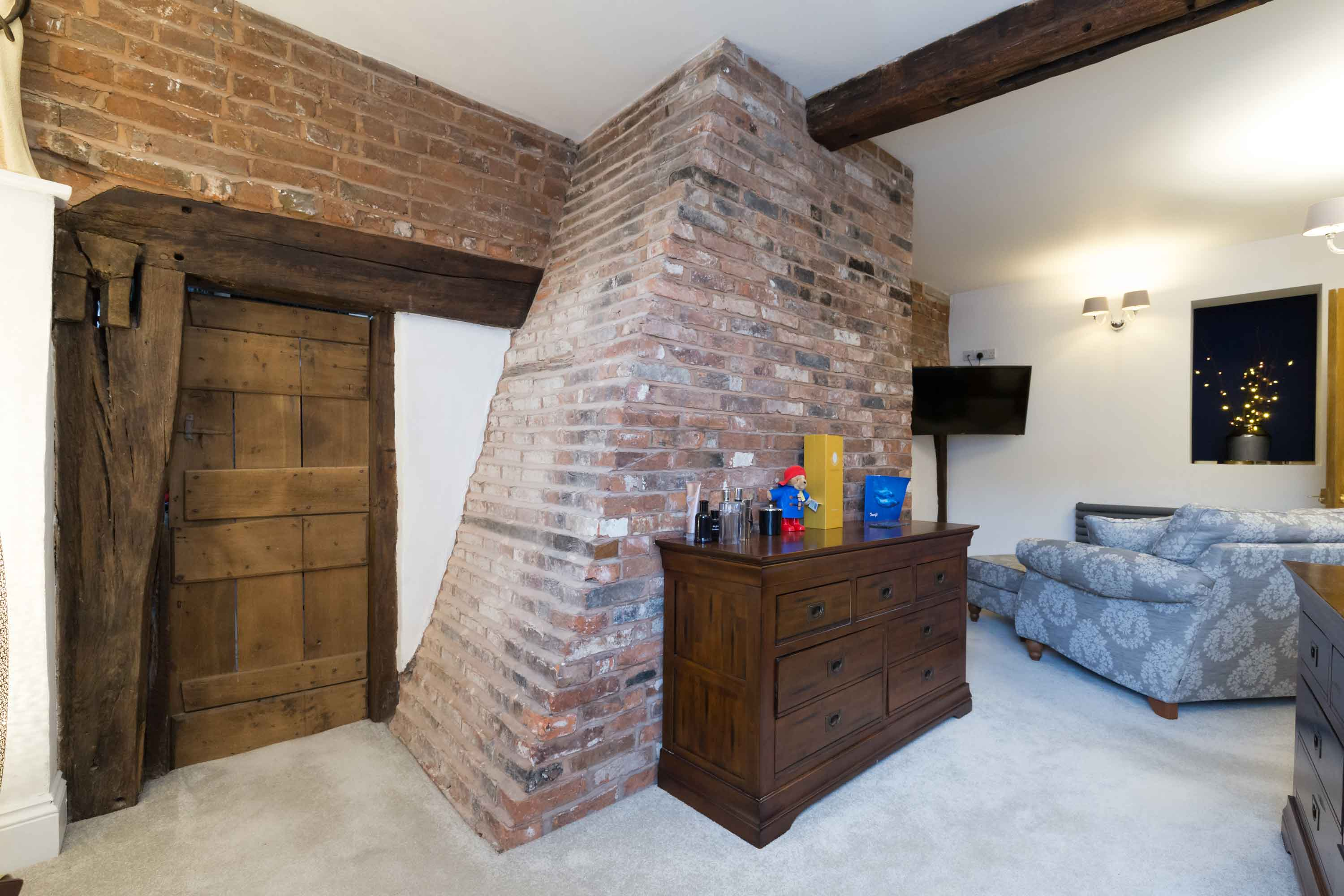 conservation bedroom chimney brickwork wood door