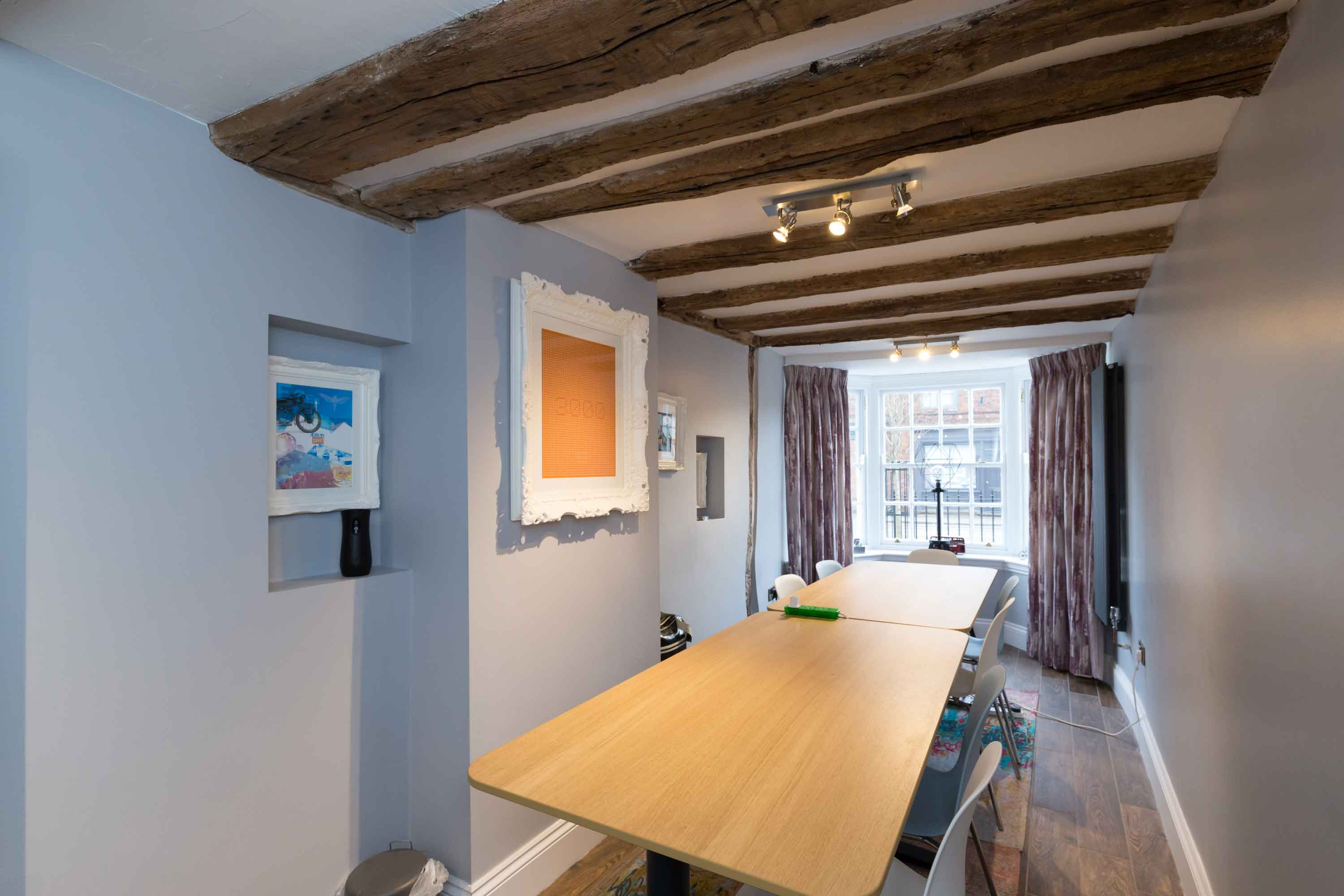 conservation office meeting room table oak beams