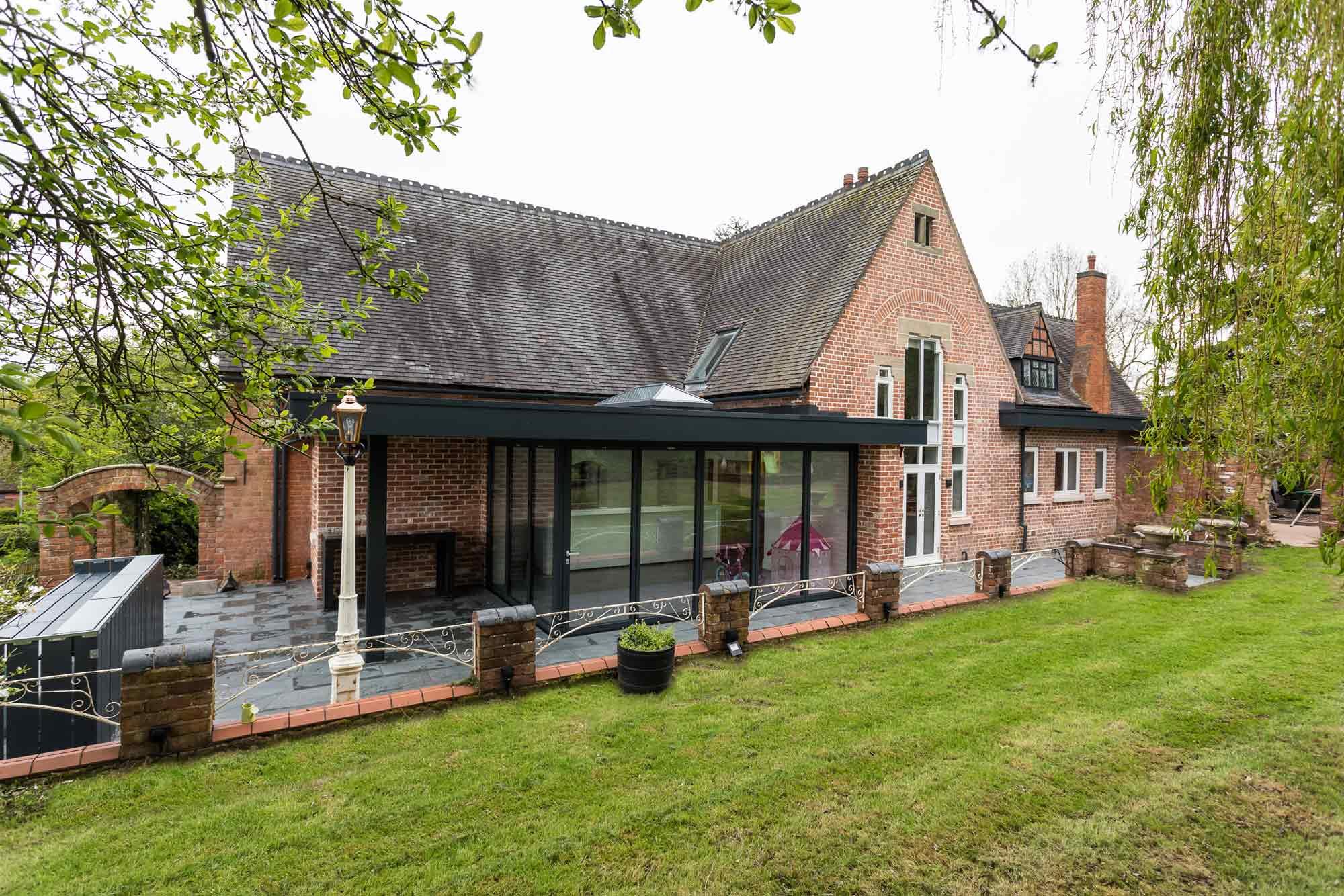 flat roof extension overhang canopy bi-folding doors, Victorian lantern