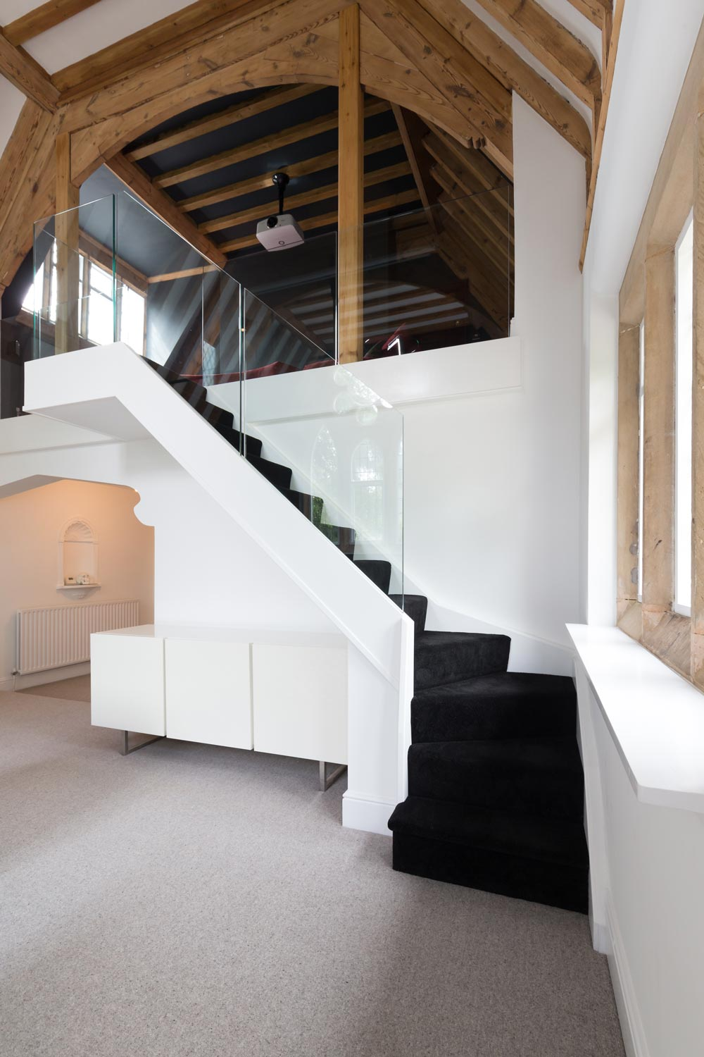 frameless glass staircase, floating stair