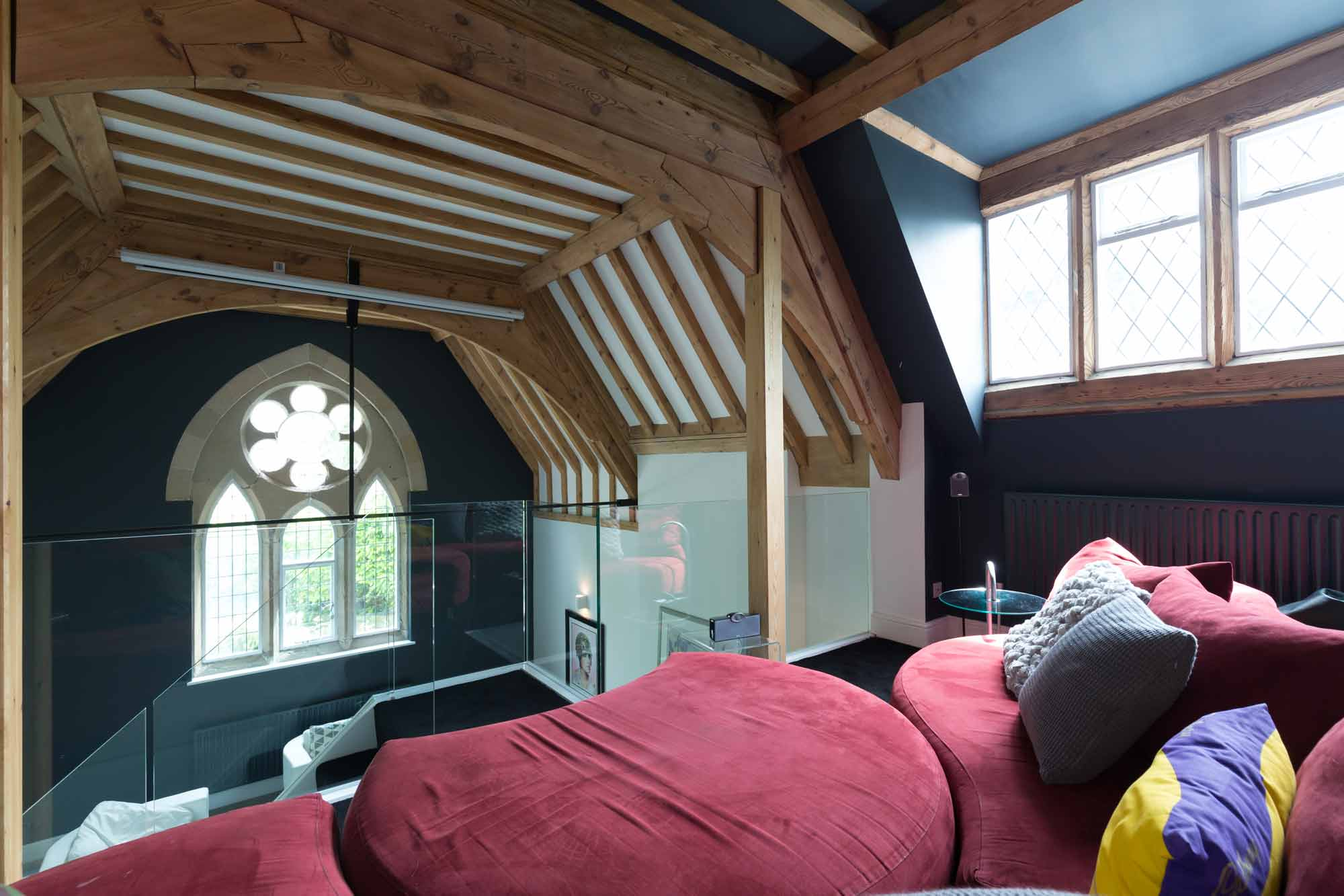 cinema room, projector, frameless glass balustrade, pitch pine rafters posts and trusses