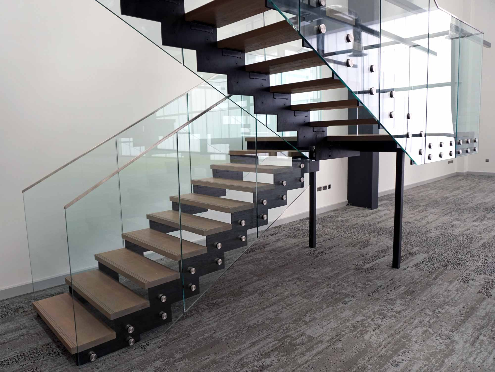 glass timber and steel staircase